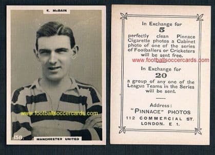 1922 McBain medium-size gum card-size Pinnace double frame lines 158 Manchester United ex Ayr GEM