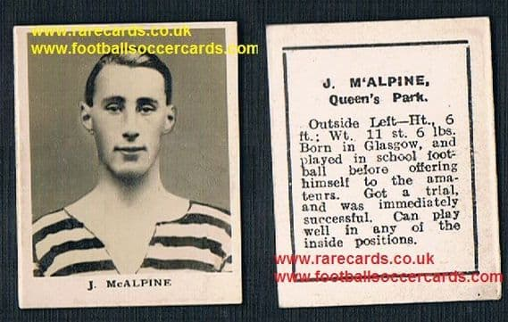 1922 Mutt McAlpine Queen's Park FC record goal scorer Rover RP2 football card