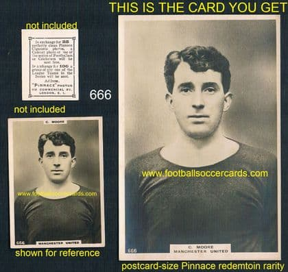 1923 Charlie Moore 666 Man Utd LARGEST SIZE Phillips redemption Pinnace cabinet size card