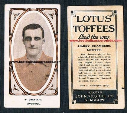 1924 Harry Chambers Liverpool  FILSHILL Lotus Toffee card
