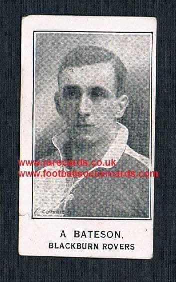 1925 A Bateson Blackburn Rovers Barratt's Sherbet Novelties card
