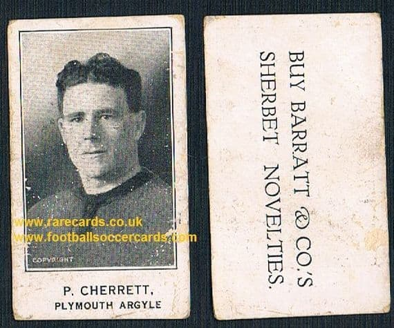 1925 Barratt & Co P. Cherrett Plymouth Argyle footballer card Sherbet Novelties variety
