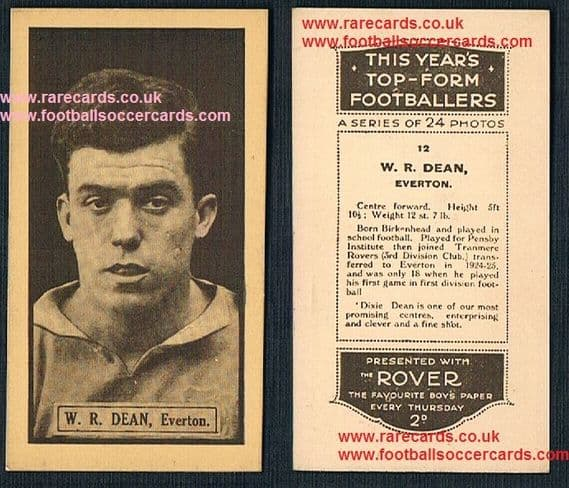 1925 Dixie Dean rookie Rover This Years Top Form Footballers