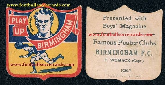 1926 Frank Womack record appearances Birmingham Boys Mag shield card Famous Footer Clubs 1926-7