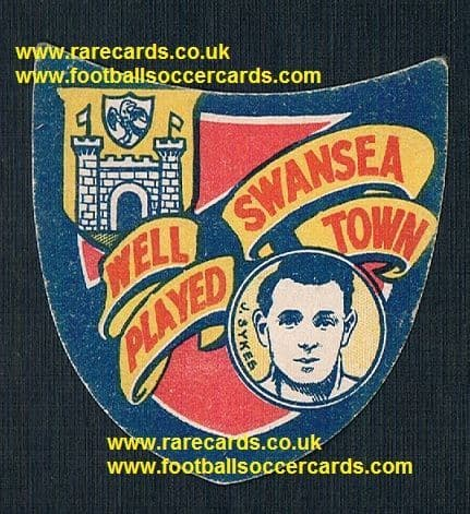 1926 Joe Sykes Sheffield Wednesday Swansea Town shield-shape soccer card Boys Magazine