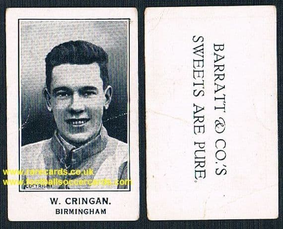 1926 W. Jimmy Cringan Birmingham City Barratt's Sweets Are Pure card