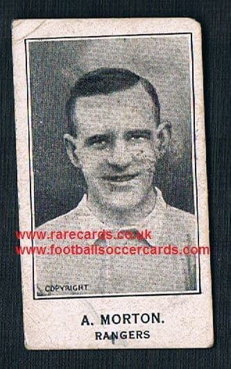 1927 Alan Morton Glasgow Rangers Tarrab back Barratt & Co football trade card