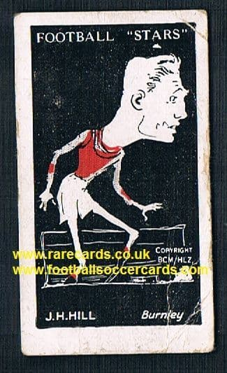 1928 Barratt football stars card Jack Hill NUFC Burnley Sweets Are Pure back