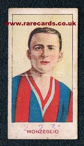 1930 early Monzeglio card,  rookie ? Double World Cup Winner! WC34 WC38. Grasso weight card, creased