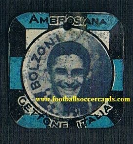1930 Gettone Italia metal card of Bolzoni INTER plain metal back, generally very good