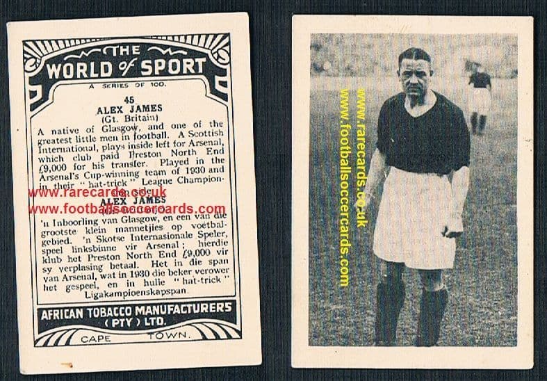 1930's South African Tobacco Cape Town World of Sport Alex James 45 Arsenal