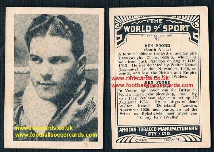 1930's South African Tobacco World of Sport Ben Foord South African heavyweight champ boxer