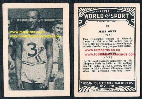 1930s African Tobacco World of Sport Jesse Owens USA track field card