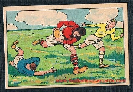 1930s French illustrated rugby scene on a dedicated trade card, classic comic book style