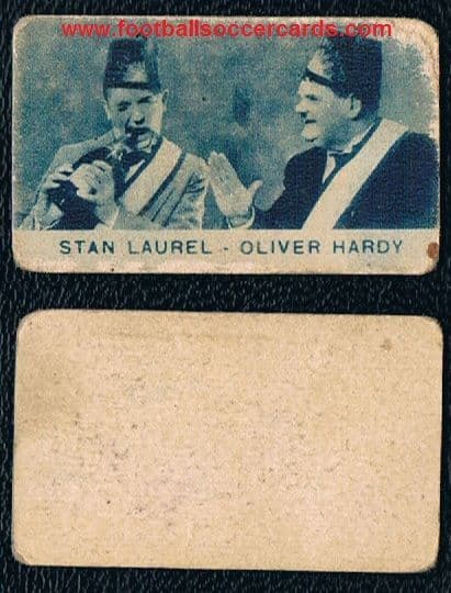 1930s Laurel & Hardy trade card from Italy, blue tint type Stan & Ollie