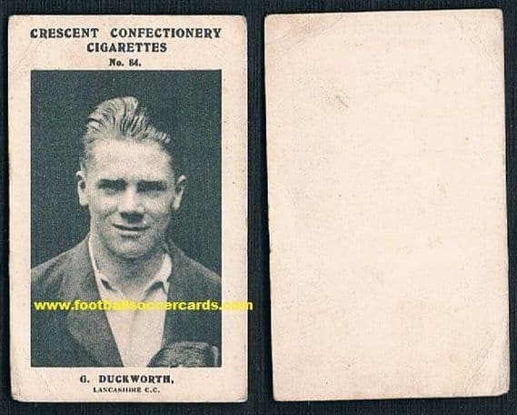 1931 George Duckworth Lancs CCC England wicket keeper cricketer of the year 1929 Crescent card