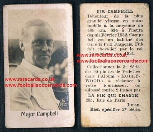 1932 Pie Qui Chante French trade card Malcolm Campbell Sunbeam Bluebird speed record holder