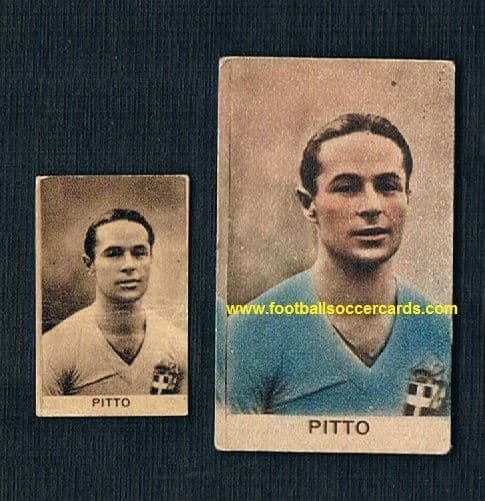 1933 Alfredo Pitto 2x cards, an International Cup winner with Italy, Bologna, Fiorentina & Inter