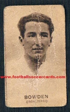 1934 Arsenal England Ray Bowden  Italian chocolates card back