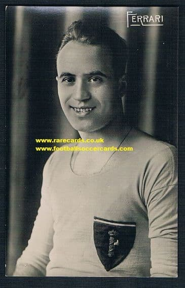 1934 Giovanni Ferrari, a 2-time World Cup winner! Trade Card designed as a postcard GdlS, Italy