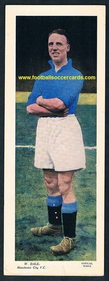 1936 Billy Dale Manchester City Scottish colour Topical Times card