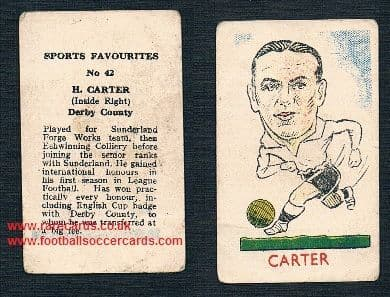 1946 Kiddy's Donaldson rogue  football favourites Raich Carter Derby County 42