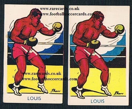 1947 A J Donaldson Joe Louis pair variations boxing cards
