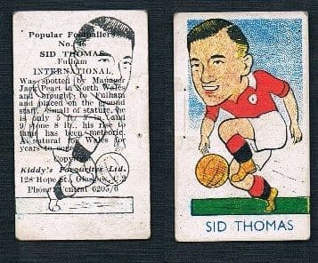 1948 Sid Thomas Wales & Fulham RARE double image white glossy thick card type