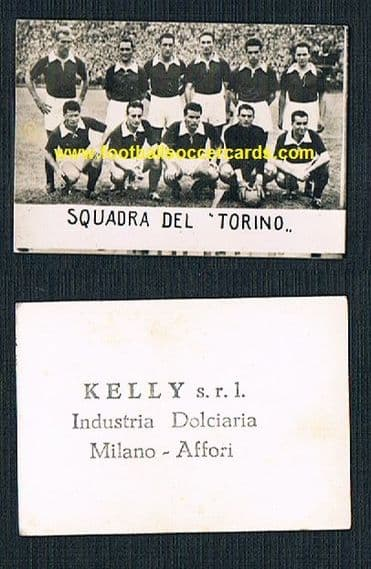 1952 Faas Wilkes with Torino FC on a very rare KELLY GUM card from Italy