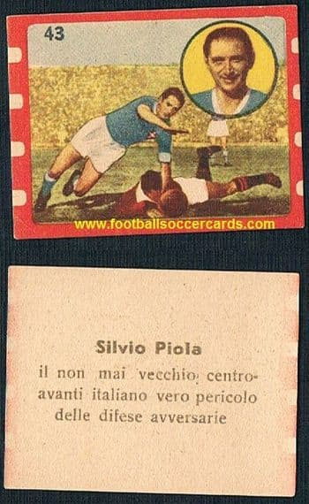 1952 Silvio Piola #43 Novarra by Cicogna, from the Tutto Sport collection of that year, superb