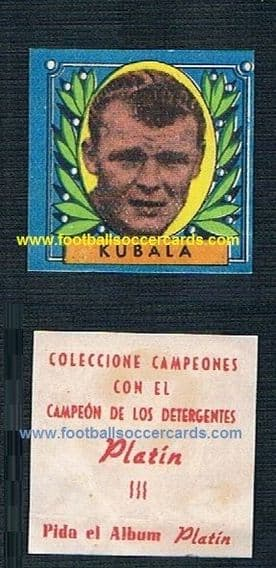 1953  blue  Platin Spanish detergents  KUBALA rookie blue front with red back RARITY!