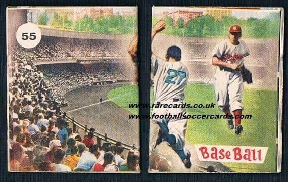 1953 Dodgers baseball gum CARD (but also a tiny booklet) by Vecchi (Lampo) from Italy