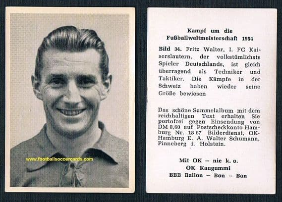 1954 Fritz Walter OK GUM World Cup collection clean card of the West German WC54 winner