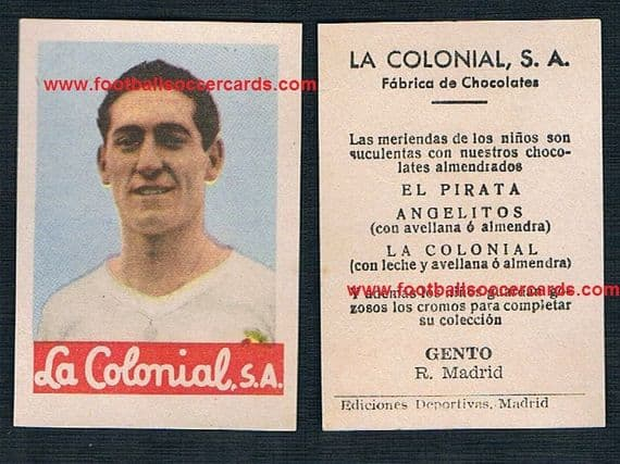 1954 Gento La Colonial trade card from Spain