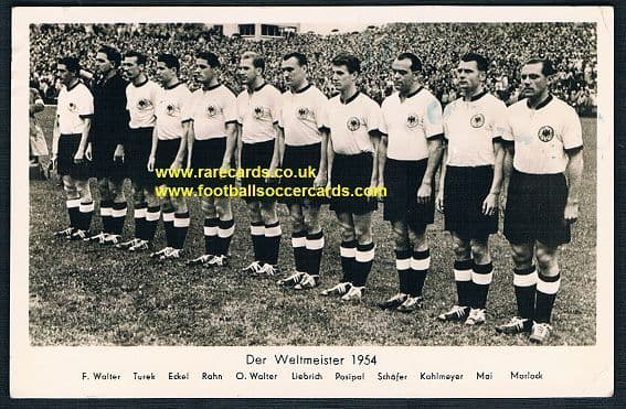 1954 World Cup winners West Germany WC54 postcard sent 14 August 54