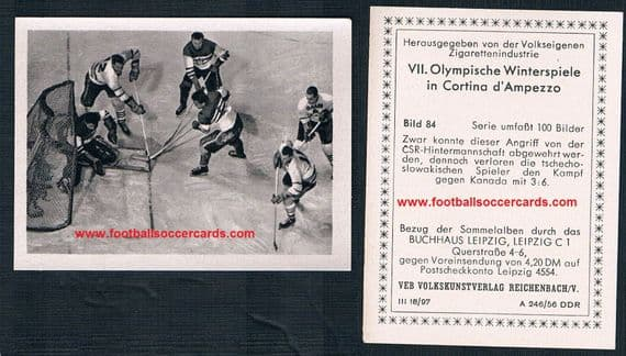 1956 DDR East German cig card 84 CANADA ICE HOCKEY team winter OG vs Czech team