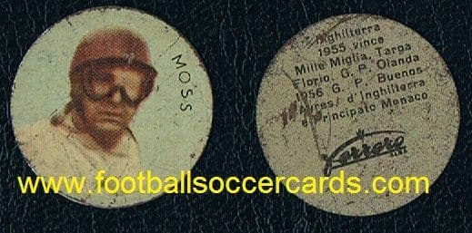 1956 Stirling Moss rookier Ferrero Chocolates metal disc from Italy racing driver legend