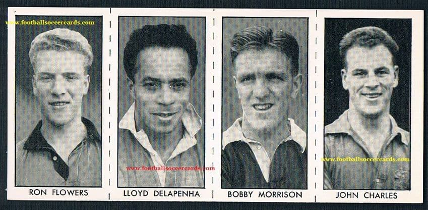 1957 John Charles UNCUT Hotspur Comic strip of 4 Lindy Delapenha Flowers Morrison intact as issued
