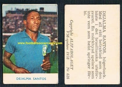 1958 Alifa DJALMA SANTOS Brazil Swedish WC58 original light wear CLASSIC!