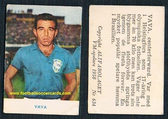 "1958 Alifa VAVA ""Golden Boot"" winner Brazil Swedish WC58 original small light crease CLASSIC !"