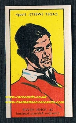 1958 Cadet sweets transfer Charlton Athletic John Hewie Scotland