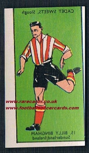 1958 Cadet transfer Billy Bingham Sunderland  Northern Ireland