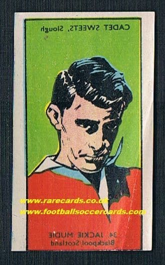 1958 Cadet transfer Jackie Mudie Blackpool Scotland corner creased but unused
