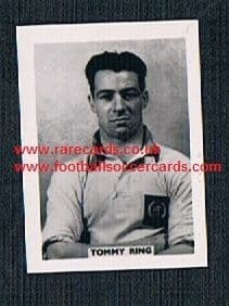 1958 Colinville Footer Foto Gum card British International Football Stars Clyde Everton Tommy Ring