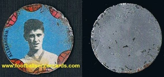 1959 rookie Gianni Rivera for Alessandria on a VAV metal disc some wear