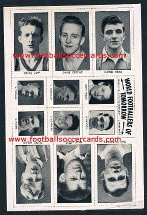 1959 *STAR ITEM* Denis Law rookie in UNCUT sheet of stickers! Unique surviving example?