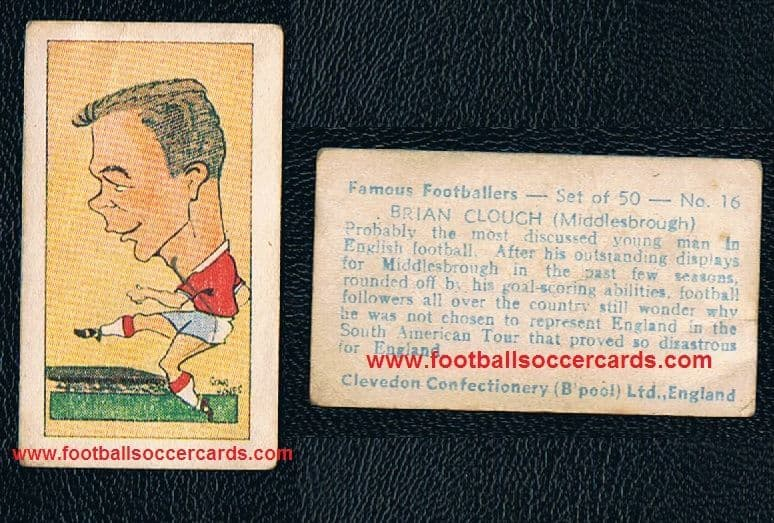1960 Brian Clough Boro #16 Famous Footballers Clevedon Confectionery