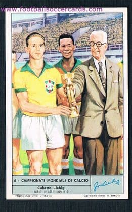 1960s Italian card of Bellini & Pelé at the 1958 World Cup Liebig Soups card