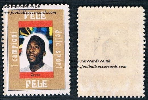 1960s trade card in the format of a stamp Pele issued only in Italy by QuiGiovani