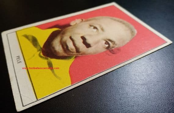 """1961-2 1st ed. LARGE SIZE """"BROWN BACK"""" PELE Stella card from Italy, typical gum card size, faults"""